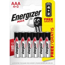 BATERIJAS ENERGIZER MAX AAA 4+2 1.5V ALKALINE